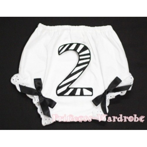 2nd Black Zebra Birthday Number Panties Bloomers with Black Bow BC71