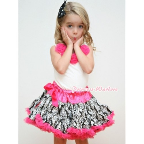 White Tank Tops with Hot Pink Rosettes & Hot Pink Damask Pettiskirt MG084