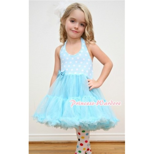 Light Blue White Polka Dots ONE-PIECE Petti Dress with Bow and White Rainbow Polka Dots Leg Warmer Set LD001