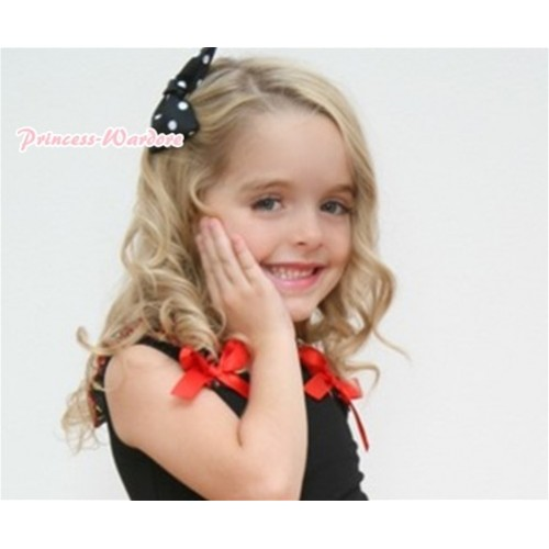 Black White Polka Dots Ribbon Bow Hair Clip H89