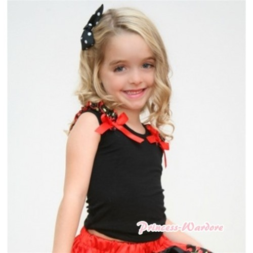 Black Tank Top with Black Cherry Ruffles and Hot Red Bows T363