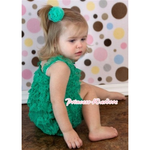 Kelly Green Lace Ruffles Petti Rompers with Straps LR115