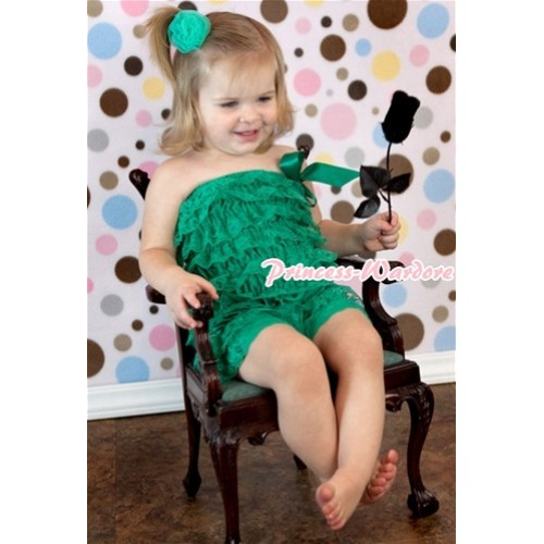 Kelly Green Lace Ruffles Petti Rompers LR99