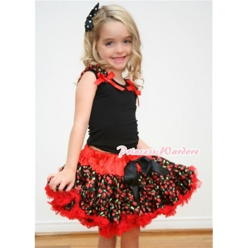 Black Tank Tops with Black Cherry Ruffles and Red Bows & Red Black Cherry Pettiskirt MW077