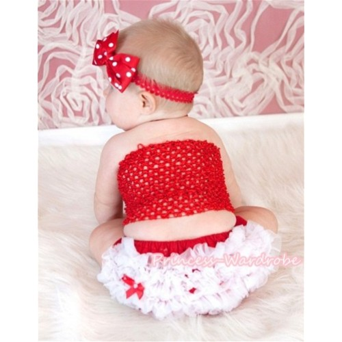 Red Crochet Tube Top, Red White Bloomer CT352