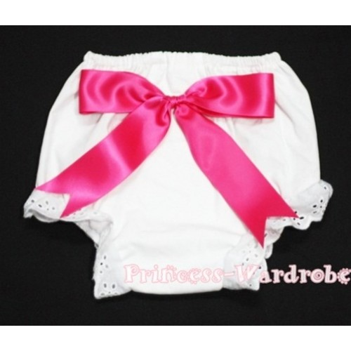 White Bloomers & Hot Pink Big Bow BC92