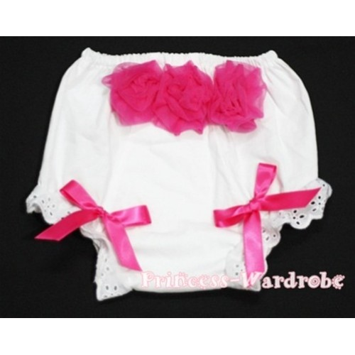 White Panties Bloomers with 3 Hot Pink Roses at the top BC95