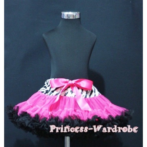 Zebra Waist Hot Pink Black Full Pettiskirt P111
