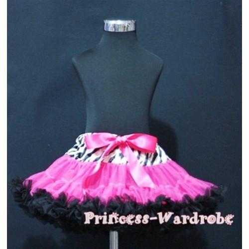 Zebra Waist Hot Pink Black Full Pettiskirt P111