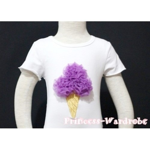 Dark Purple Ice Cream White Short Sleeves Top T76
