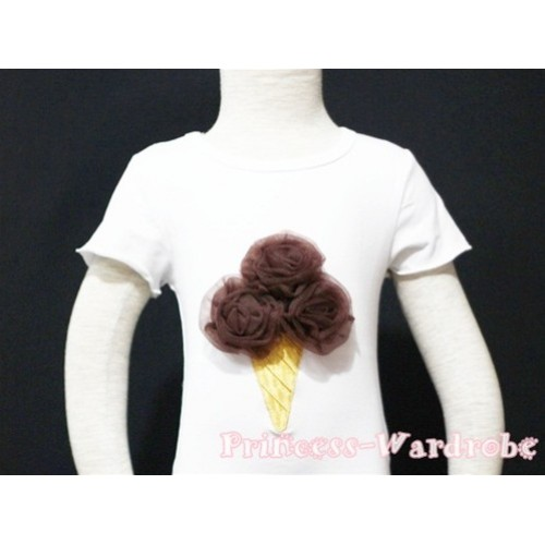 Brown Ice Cream White Short Sleeves Top T78