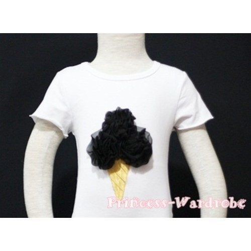 Black Ice Cream White Short Sleeves Top T79
