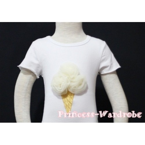 Cream White Ice Cream White Short Sleeves Top T82