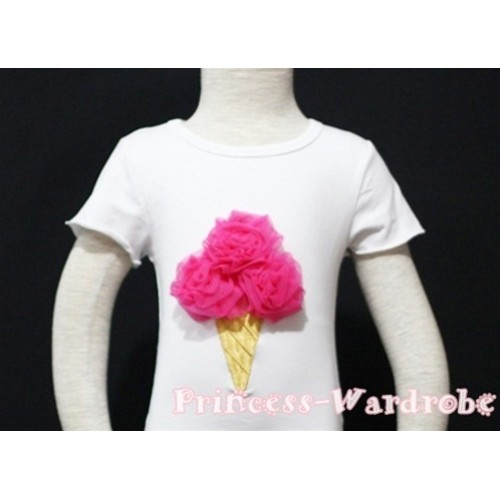 Hot Pink Ice Cream White Short Sleeves Top T83