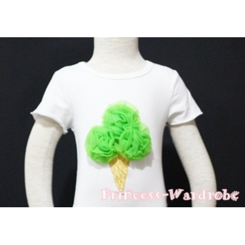 Dark Green Ice Cream White Short Sleeves Top T84
