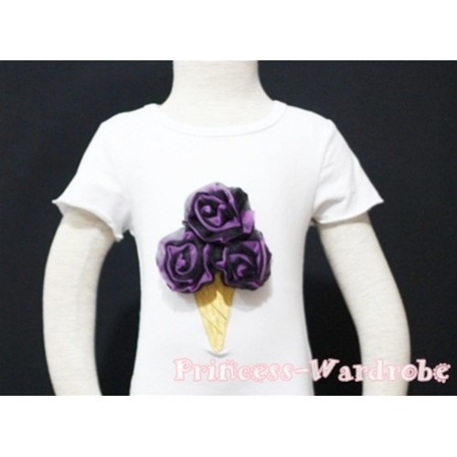 Black Dark Purple Mixed Ice Cream White Short Sleeves Top T91