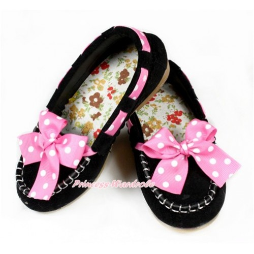 Black Hot Pink White Dots Ribbon Bow Slip Deck Boat Girl Shoes EXS-633Black