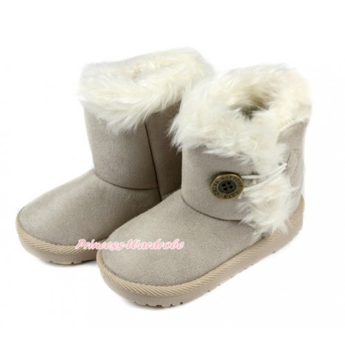 Grey White Fur Button Mid Calf Warm Children Boot SB32