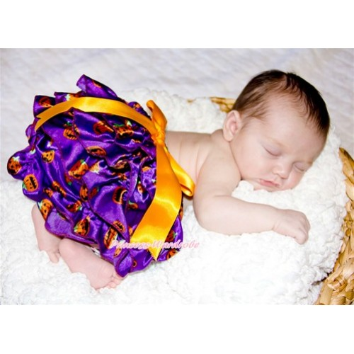 Halloween Dark Purple Pumpkin Satin Layer Panties Bloomers With Orange Big Bow BC165