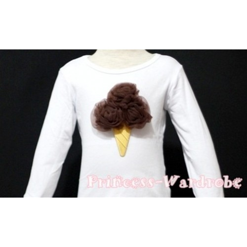 Brown Ice Cream White Long Sleeves Top T127