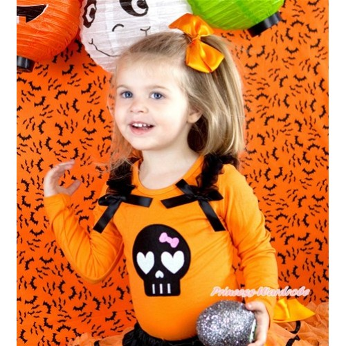 Halloween Black Skeleton Print Orange Long Sleeves Top with Black Ruffles & Black Bow TO302