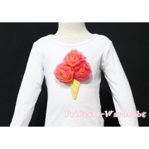 Hot Pink Orange Mixed Ice Cream White Long Sleeves Top T134