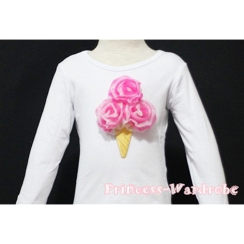 Hot Pink White Mixed Ice Cream White Long Sleeves Top T135