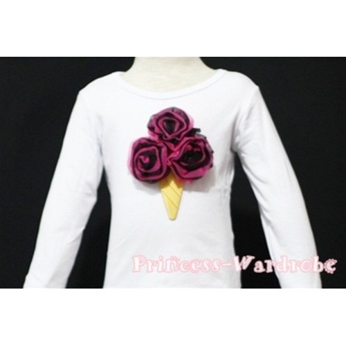 Black Hot Pink Mixed  Ice Cream White Long Sleeves Top T137