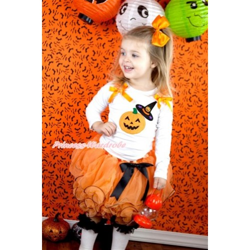 Halloween Black Bow Orange Petal Pettiskirt with Matching White Long Sleeve Top with Orange Ruffles & Orange Bow & Pumpkin Witch Hat & Pumpkin Print MW340