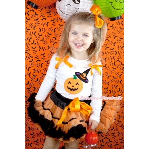 Halloween Black Orange Trim Pettiskirt with Pumpkin Witch Hat & Pumpkin Print White Long Sleeve Top with Orange Ruffles and Orange Bow MW341