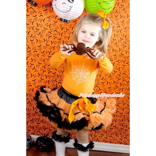 Halloween Black Orange Trim Pettiskirt with Sparkle Crystal Glitter Spider Web Print Orange Long Sleeve Top with Orange Chiffon Lacing MW345