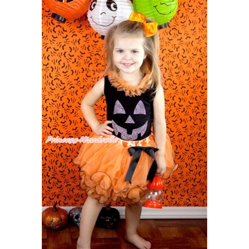 Halloween Black Tank Top With Orange Chiffon Lacing & Sparkle Crystal Glitter Pumpkin Print With Black Bow Orange Petal Pettiskirt MG761