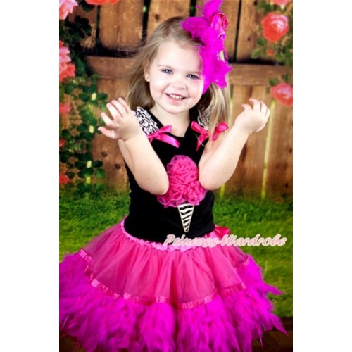Black Tank Top With Zebra Ruffles & Hot Pink Bow & Hot Pink Rosettes Zebra Ice Cream With Hot Pink Posh Feather Pettiskirt MG762
