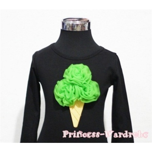Dark Green Ice Cream Cake Black Long Sleeves Top T185