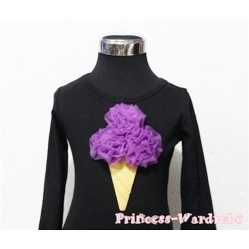 Dark Purple Ice Cream Black Long Sleeves Top T189