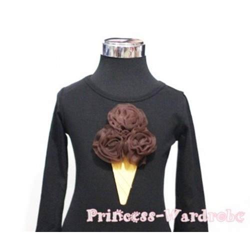 Brown Ice Cream Black Long Sleeves Top T192