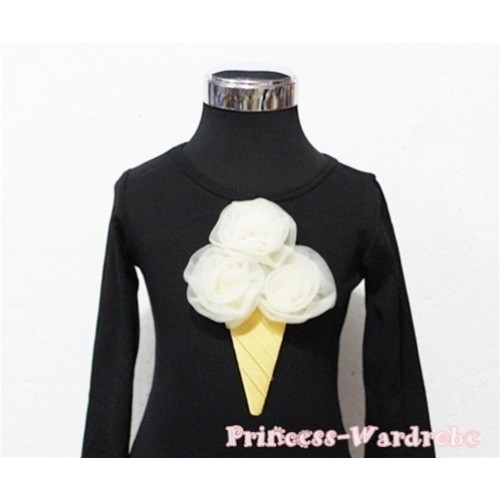 Cream White Ice Cream Black Long Sleeves Top T195