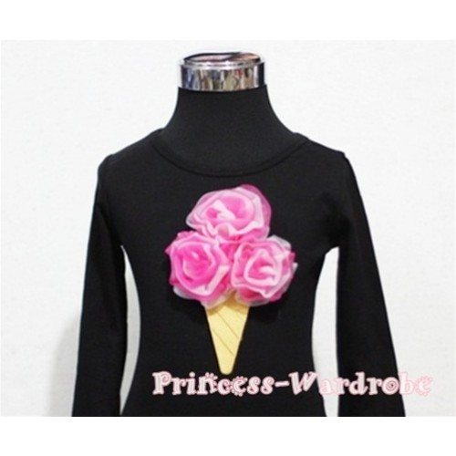 Hot Pink White Mixed Ice Cream Black Long Sleeves Top T200