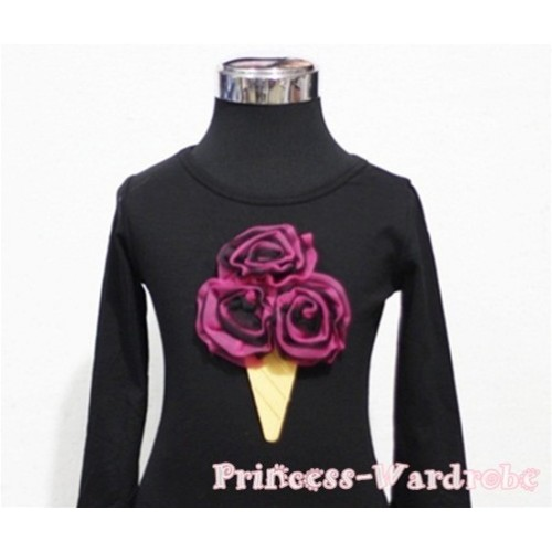 Black Hot Pink Mixed Ice Cream Black Long Sleeves Top T202