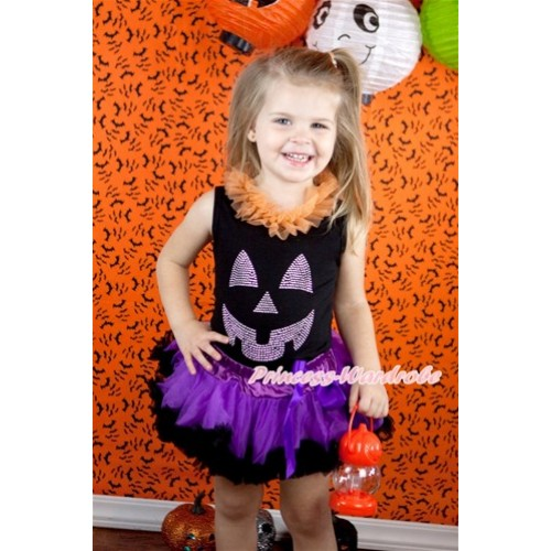 Halloween Black Baby Pettitop with Orange Chiffon Lacing & Sparkle Crystal Glitter Pumpkin Print with Dark Purple Feather Newborn Pettiskirt NG1248