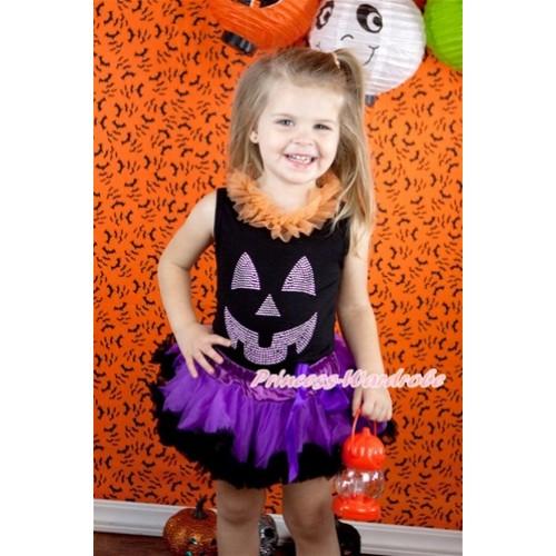 Halloween Black Baby Pettitop with Orange Chiffon Lacing & Sparkle Crystal Glitter Pumpkin Print with Dark Purple Feather Newborn Pettiskirt NG1248