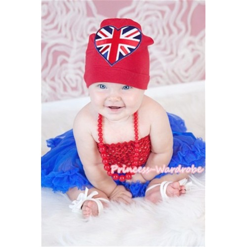 Royal Blue Baby Pettiskirt Red Crochet Top Cap with British Heart Necklace 4PC CT303