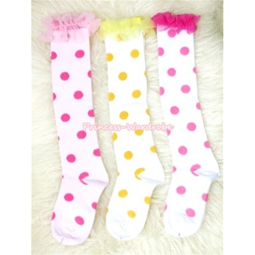 Lot 3 Pairs Polka Dots Cotton Stocking Sock with ruffles SK84