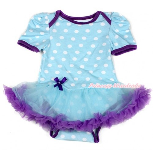 Light Blue White Dots Baby Bodysuit Jumpsuit Light Blue Dark Purple Pettiskirt JS1649