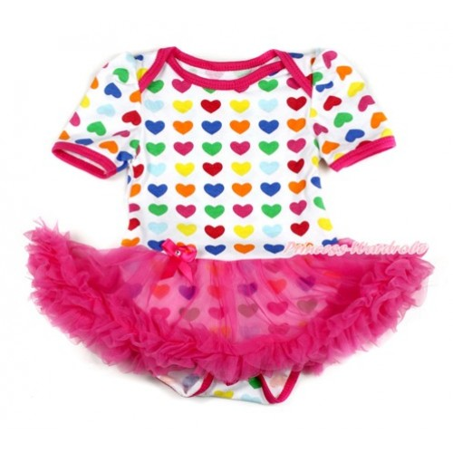Rainbow Heart Baby Bodysuit Jumpsuit Hot Pink Pettiskirt JS1650