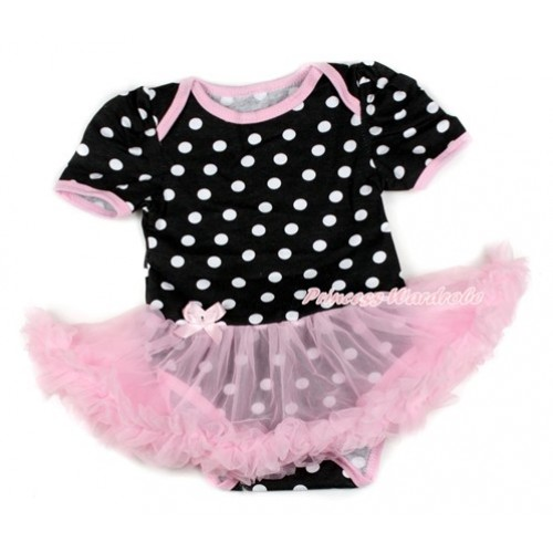 Black White Dots Baby Bodysuit Jumpsuit Light Pink Pettiskirt JS1651