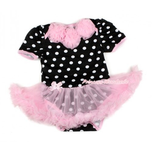 Black White Dots Baby Bodysuit Jumpsuit Light Pink Pettiskirt with Light Pink Rosettes JS1655