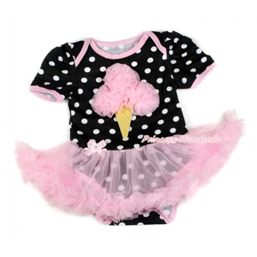 Black White Dots Baby Bodysuit Jumpsuit Light Pink Pettiskirt with Light Pink Rosettes Ice Cream Print JS1721