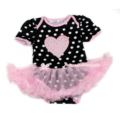 Black White Dots Baby Bodysuit Jumpsuit Light Pink Pettiskirt with Light Pink Heart Print JS1733