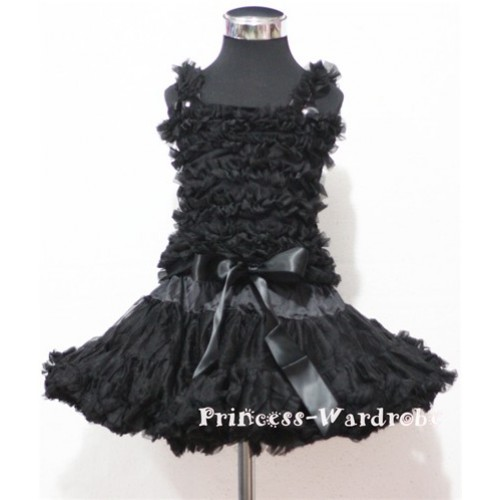 Black Pettiskirt with Matching Black Ruffles Tank Tops MR30
